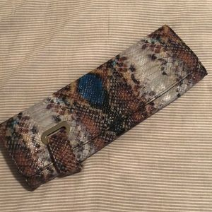 NWOT Exotic snakeskin clutch purse